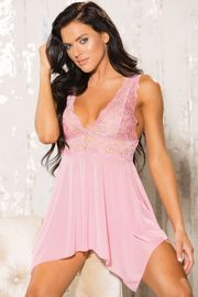 Light Pink Uneven Elegance Babydoll & Thong Set