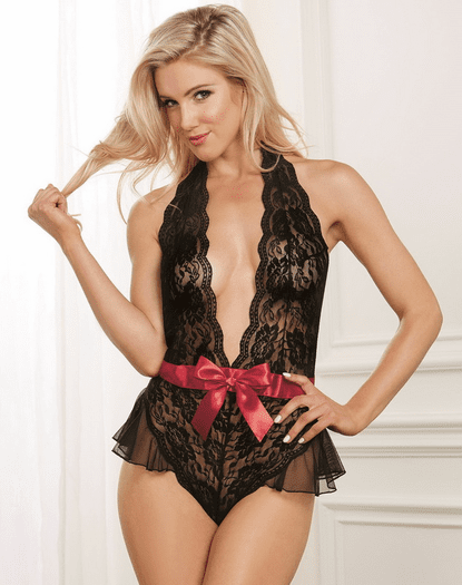 Light Up The Night Lace Snap Crotch Teddy