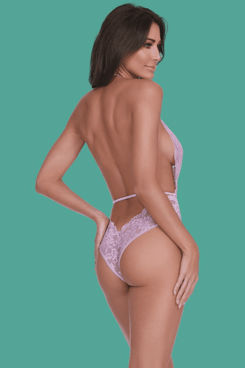 Lilac Floral Lace Teddy