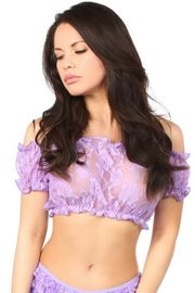 Lilac Lace Peasant Top
