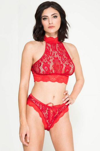 Linda's Red Lace Bralette & Lace Up Panty