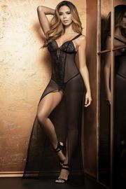 Long Black Fishnet Nightgown