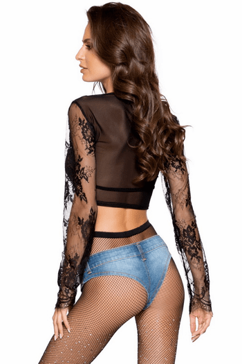 Long Sleeved Lace Crop Top