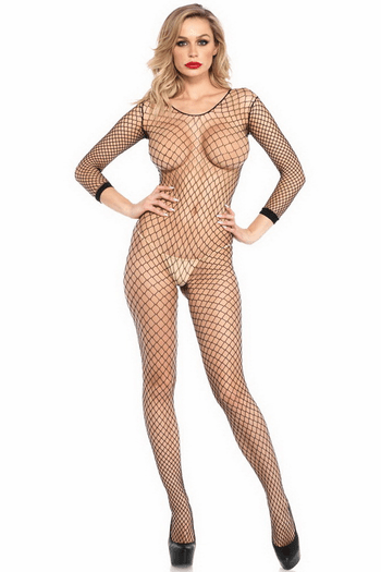 Tina's Industrial Net Open Crotch Bodystocking