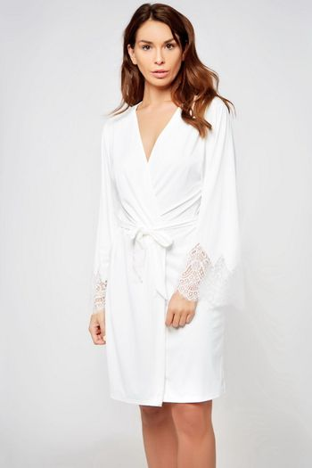 Long White Lace Bridal Robe
