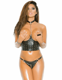 Love Forever Sexy Open Bust Leather Cropped Bustier