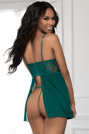 Love Me All Night Green Lace & Mesh Babydoll