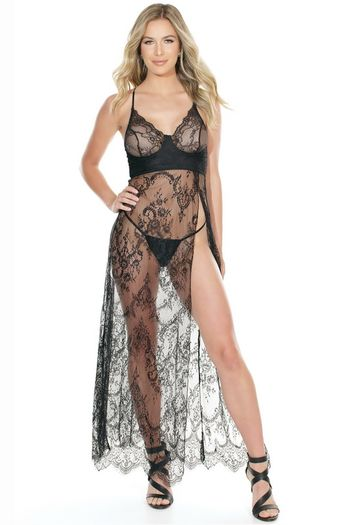 Love Me Always Black Lace Gown