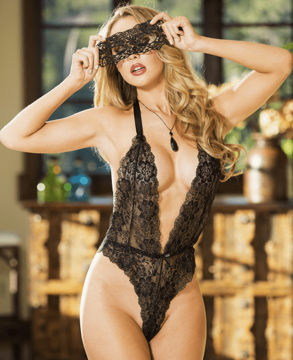 Love Me Always Lace Teddy & Eye Mask Set