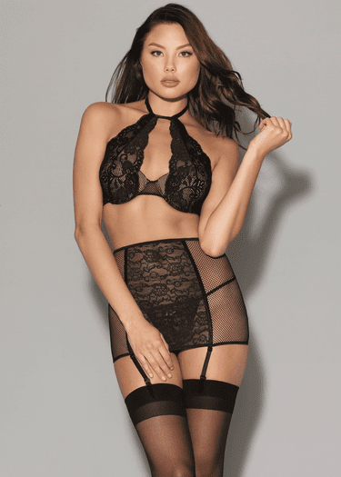 Love Me Now Bra, Garter Skirt, & G-String Set