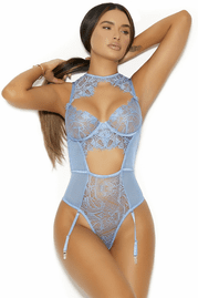 Love My Baby Blue Lace Teddy