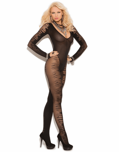 Lovely Affair Sexy Long Sleeve Crotchless Bodystocking