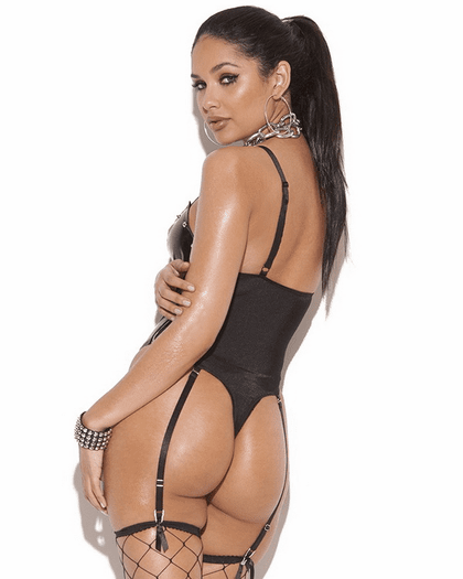 Lovely Lace Up Thong Back Teddy