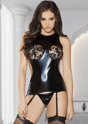 Lucky In Love Wet Look Bustier & Thong Set