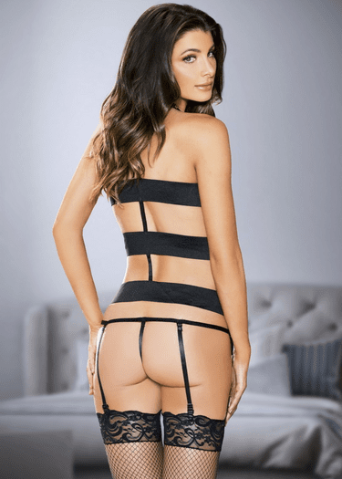 Mad For You Gartered Bustier & Thong Set