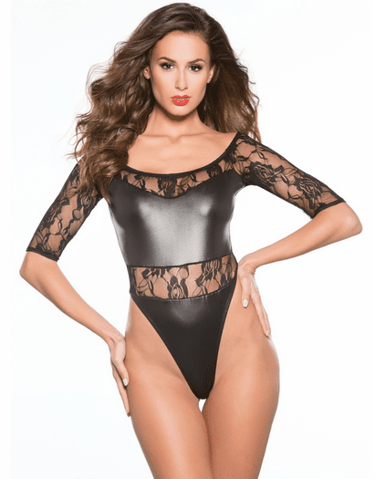 Madly In Love Wet Look & Lace Teddy