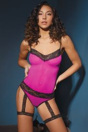 Magenta & Black Mesh Crotchless Teddy