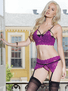 Magenta Love Crotchless Garter Panty