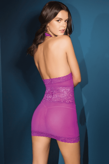 Magenta Mesh & Stretch Scallop Lace Chemise