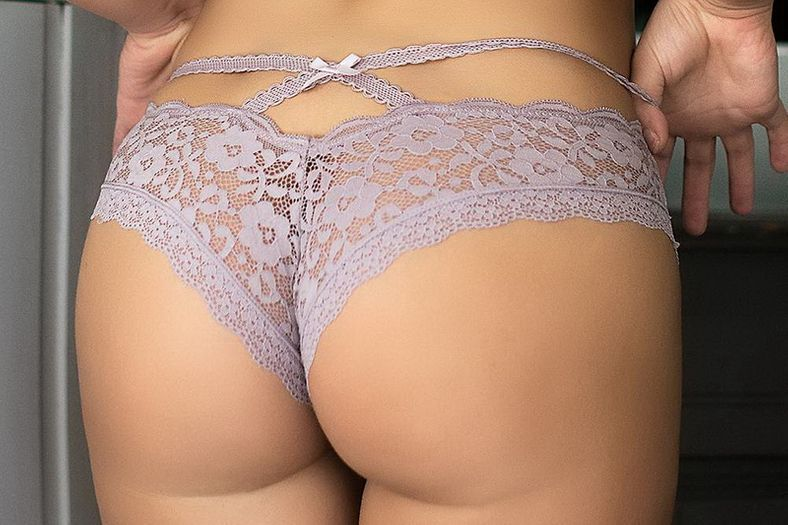 Mauve Cut Out Lace Thong