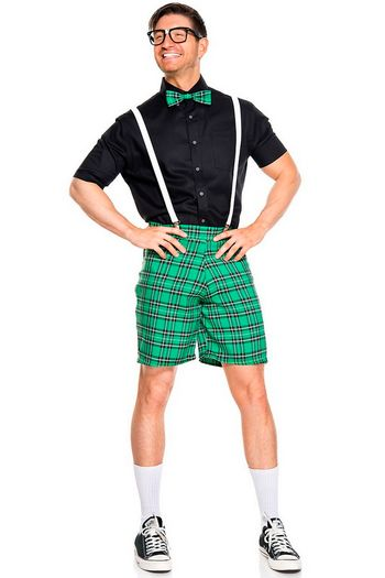 Men's Black & Green Classroom Nerd Costume