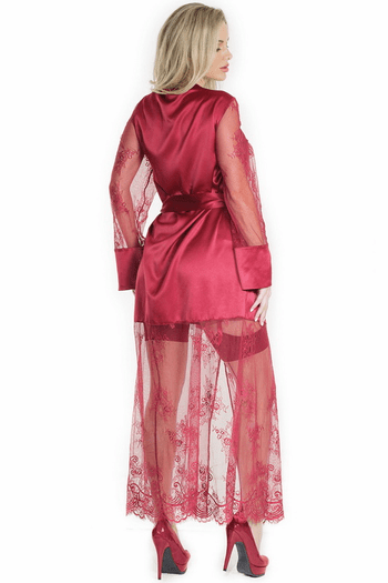 Merlot Eyelash Lace & Satin Robe