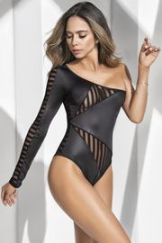 Mesh & Wet Look Asymmetric Teddy