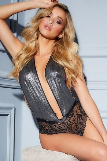 Metallic Deep Plunge Teddy