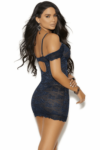 Midnight Blue Lace Chemise