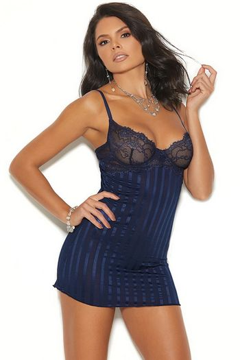 Midnight Blue Satin Babydoll