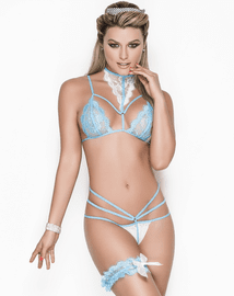 Midnight Curfew Fantasy Princess Lace Bra, Garter, & Panty Set