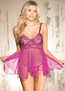 Midnight Kisses Sheer Lace Babydoll & Thong Set