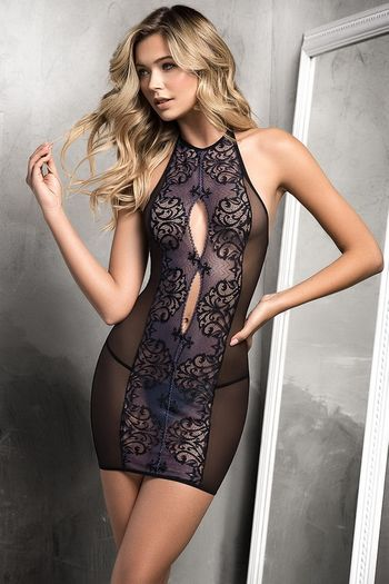 Midnight Lace Chemise Set