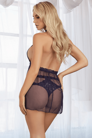Midnight Lace & Mesh Babydoll