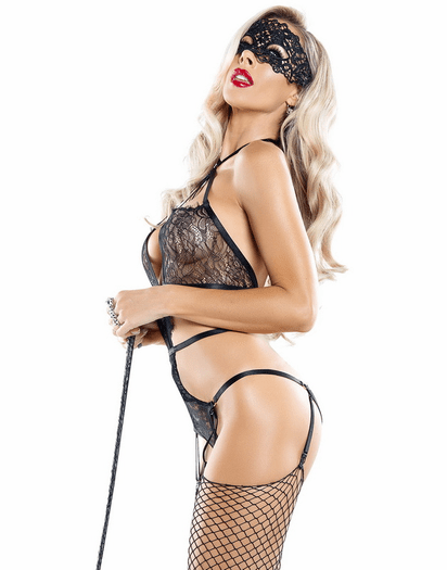Midnight Mistress Lace Playsuit Teddy