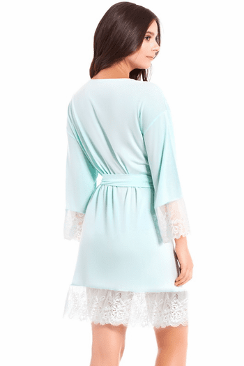 Mint Lace Trim Robe