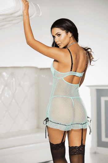 Mint Memory Sexy Garter Chemise & Thong Set