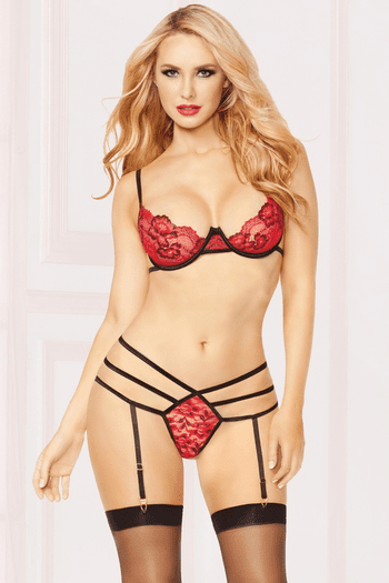Miss Vixen Bra, Panty, & Stockings Set
