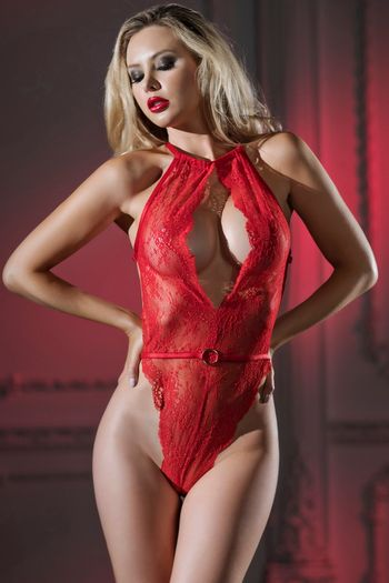 Monica Red Lace Teddy