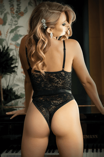 Moonlight Black Lace Caged Teddy