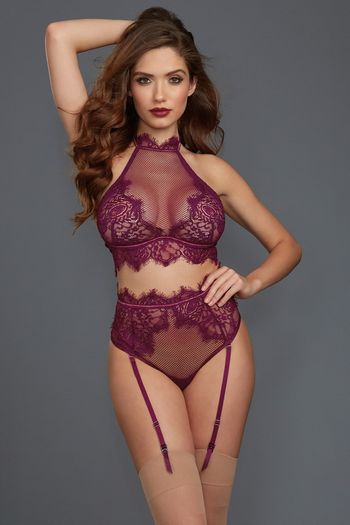 Mulberry Halter Bra & High Waisted Gartered Panty