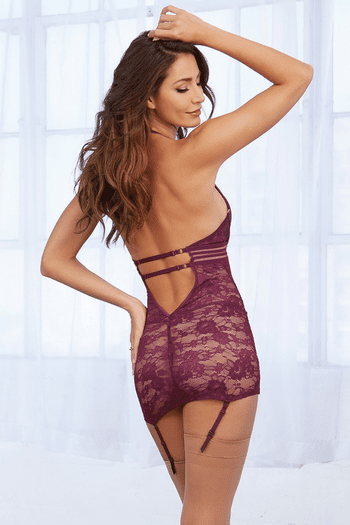 Mulberry Stretch Lace Gartered Chemise