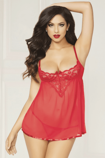Naughty Desires Lace Babydoll & Thong Set