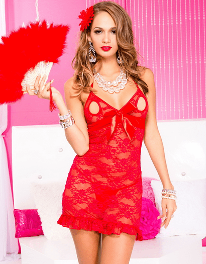 Naughty Girl Open Tip Lace Chemise