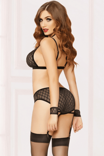 Naughty Moments Bra, Panty, & Stockings Set