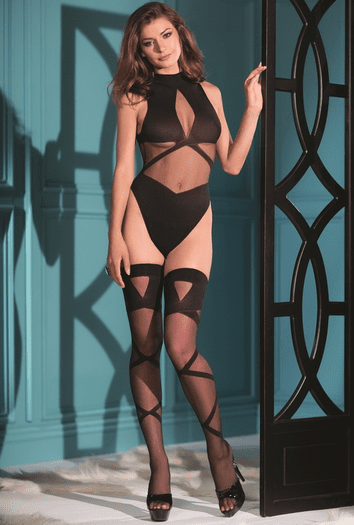 Naughty Woven Teddy W/ Matching Thigh Highs