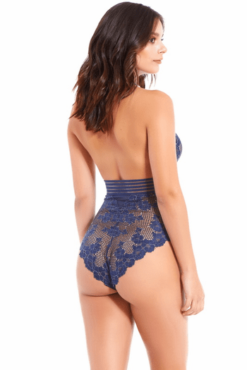 Navy Blue Lace Teddy