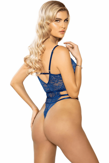 Navy Blue Strappy Harness High Rise Teddy