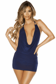Navy Cowl Neck Mini Dress