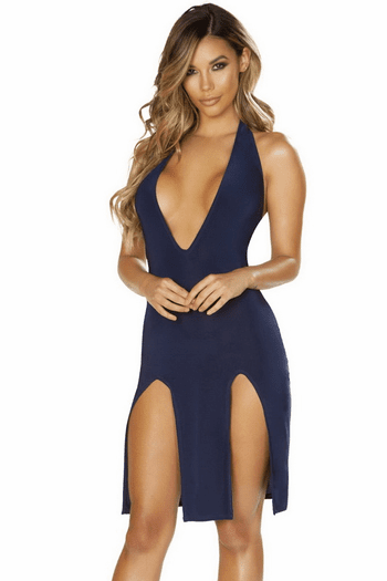 Navy Plunging Double Slit Dress